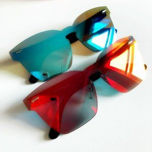 """Sheer Nerve"" Mono Block Mirror Square Sunglasses"